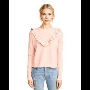 Free People Pink Ruffled Cropped Sweatshirt XS NWT